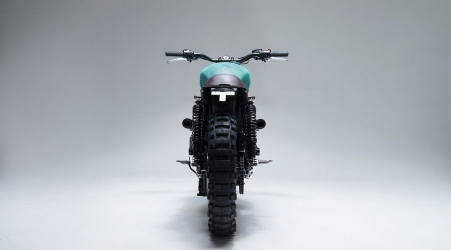 green scrambler motorcycle - 6/5/4 custom triumph Bonneville 10 scrambler back view