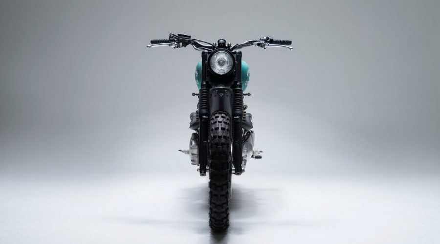 green scrambler motorcycle - 6/5/4 custom triumph Bonneville 10 scrambler front view