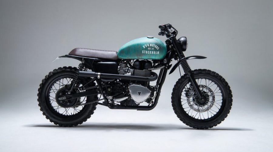 green scrambler motorcycle - 6/5/4 custom triumph Bonneville 10 scrambler side view right
