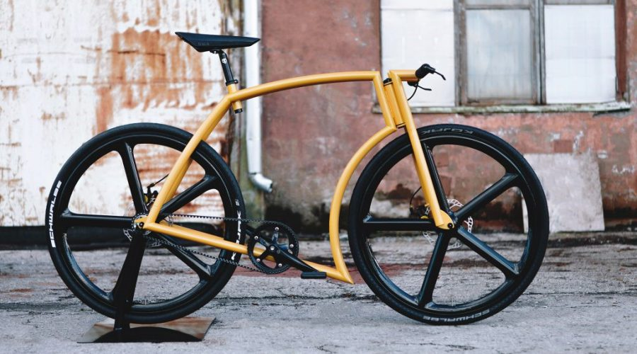 yellow single speed bicycle