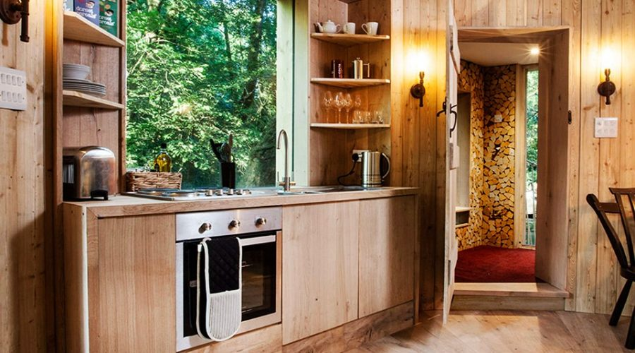 designer treehouse kitchen from the Ultimate Woodsmans Treehouse Dorset