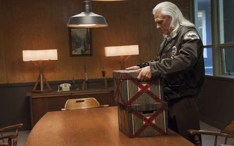 Twin Peaks 2017 Michael Horse in a still from Twin Peaks with boxes