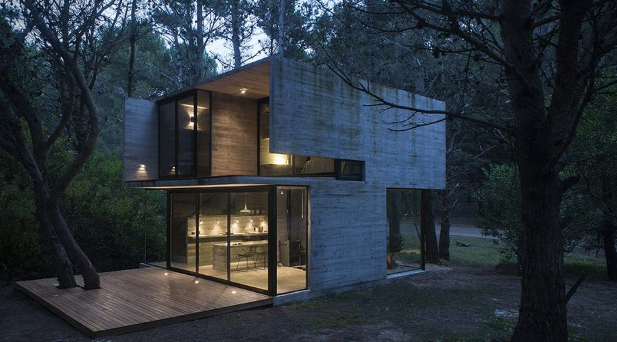 h3 house by luciano kruk modern architecture Argentina outside view in forest - Concrete Cabin H3 House