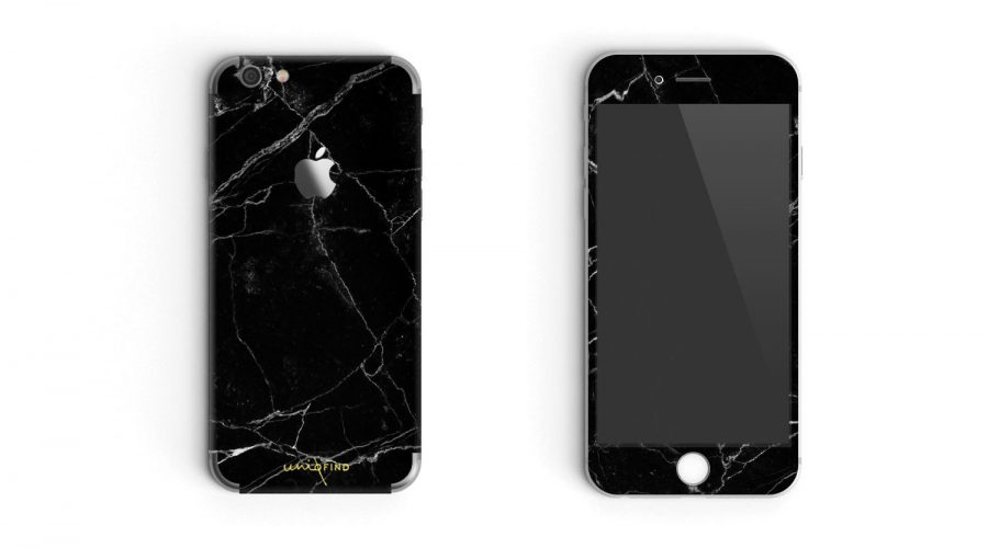 Marble Finished iphone cover in black mobile overview