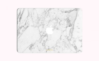 Marble Finished apple macbook cover in white top view