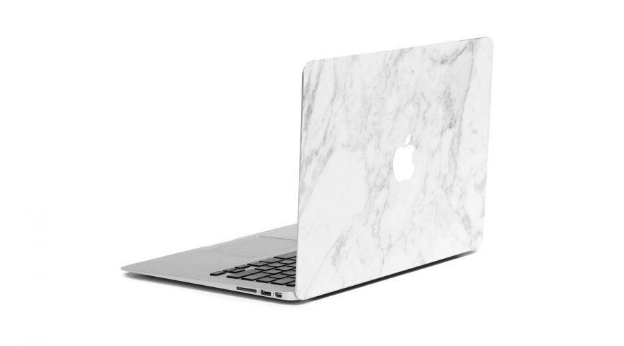 Marble Finished macbook cover in white 3/4 laptop view