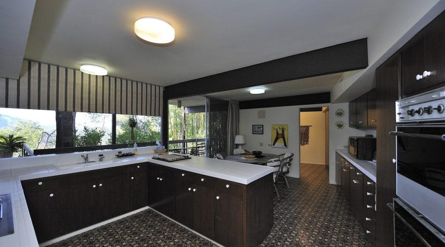 Steve McQueen 1960s house Southridge Palm Springs interior view brown kitchen for sale