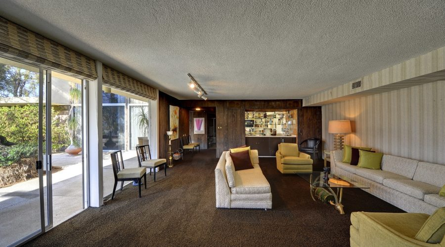 movie icon steve mcqueen 1960s home Southridge Palm Springs interior view sitting room brown carpet for sale