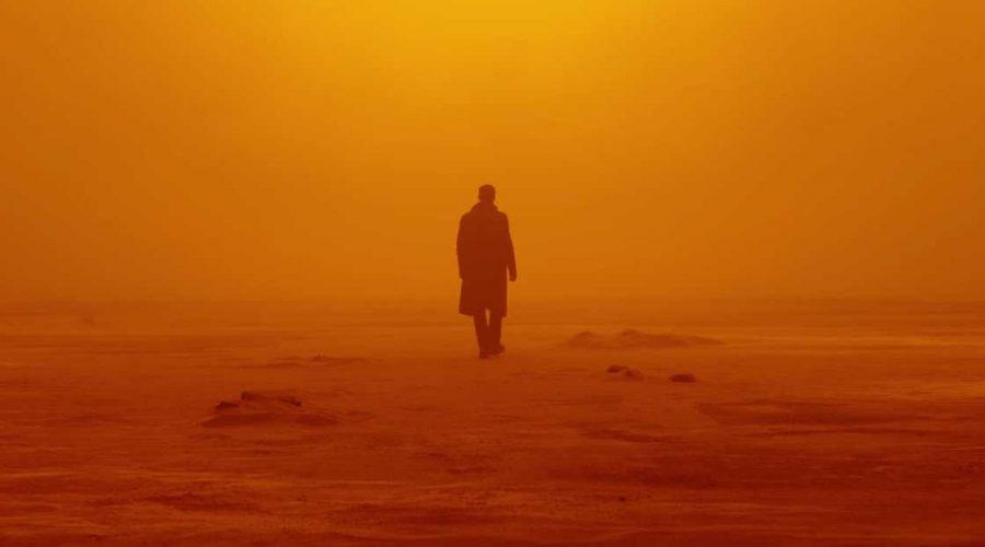 blade runner 2049 film photo with Ryan Gosling Blade Runner actor in a ling coat