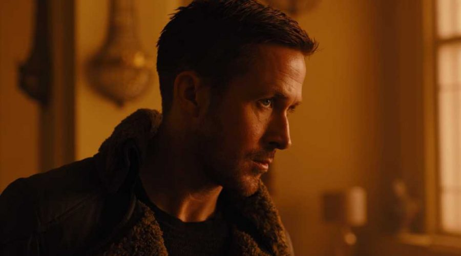 blade runner 2049 film photo with Ryan Gosling Blade Runner actor close up in a shearling jacket