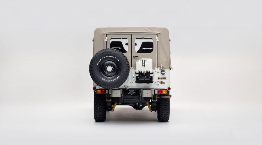 Toyota FJ Land Cruiser 'Aspen Project' White classic 4x4 truck back view