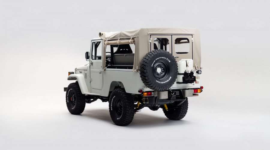 Toyota FJ Land Cruiser 'Aspen Project' White classic 4x4 truck back 3/4 view