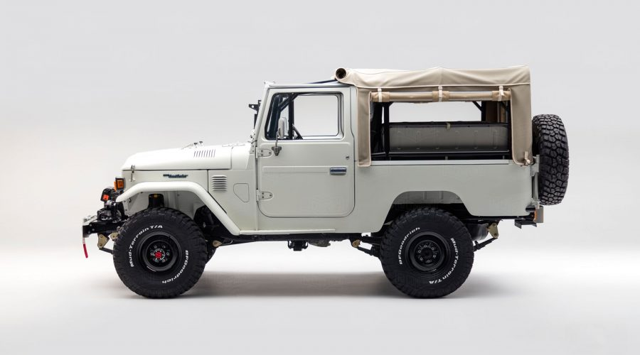 The Toyota FJ Land Cruiser 'Aspen Project' White classic 4x4 truck side view