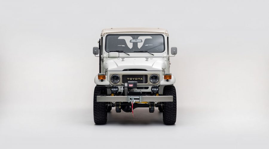 The Toyota FJ Land Cruiser 'Aspen Project' White classic 4x4 truck front view