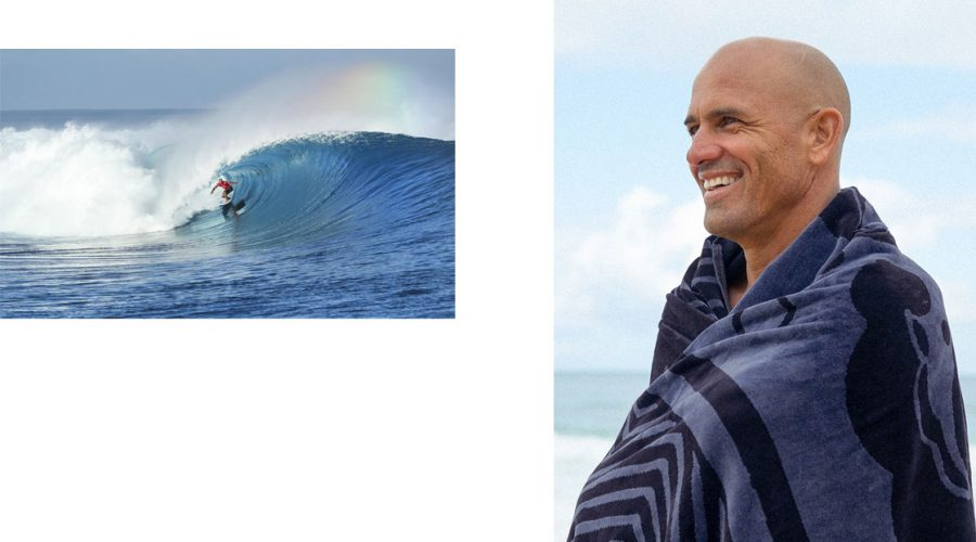 Kelly Slater with blue towel and surfing outerknown fiji pro