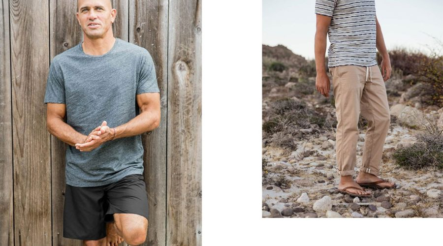 kelly slater boardshorts , t-shirt and tan chinos outerknown fiji pro