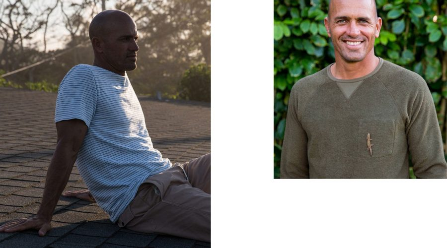 kelly-slater surf wear strip tee and olive crew neck sweatshirt outerknown fiji pro