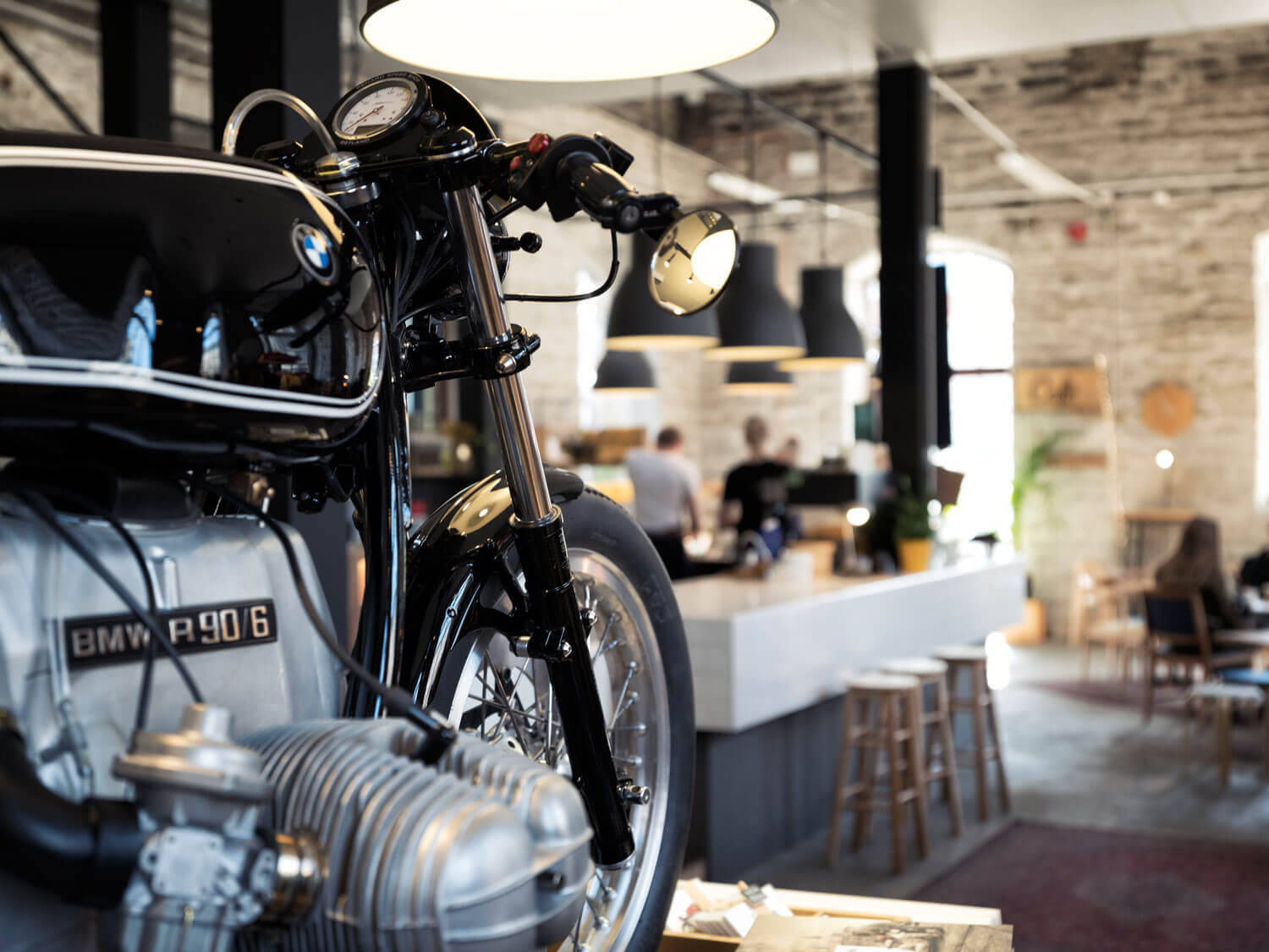 Renard Speed Shop BMW R90 Cafe Racer Motorcycle in shop