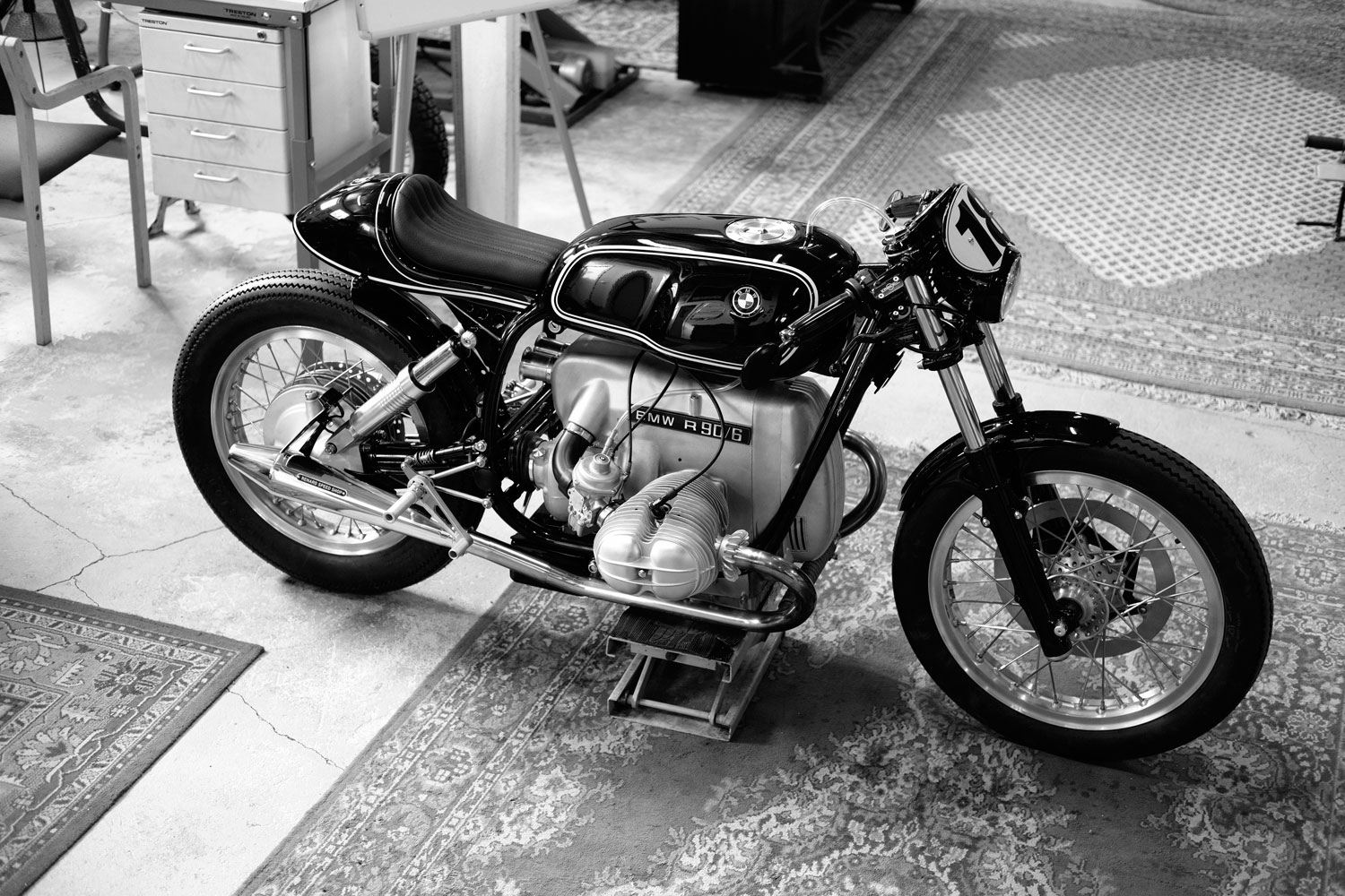 Renard Speed Shop BMW R90 Cafe Racer Motorcycle on rug in black and white