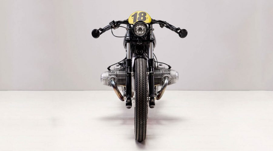 Renard Speed Shop BMW R90 Cafe Racer Motorcycle in black front view