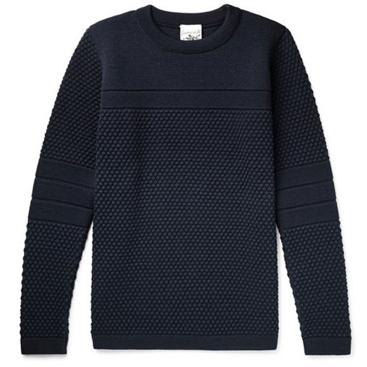S.N.S.-Herning-Torso-Textured-knit-Wool-Sweater-Navy-500s