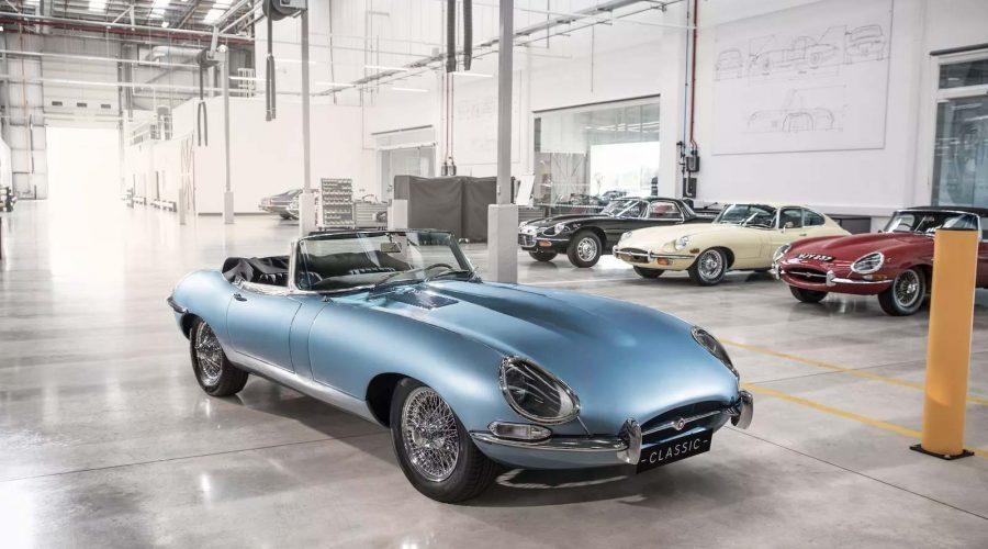 electric jaguar e-type zero car light blue