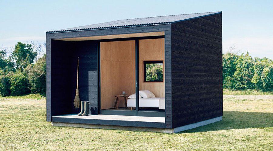 MUJI Micro Huts Modern Cabins - Cabin in landscape 3/4 front view | SEIKK Magazine