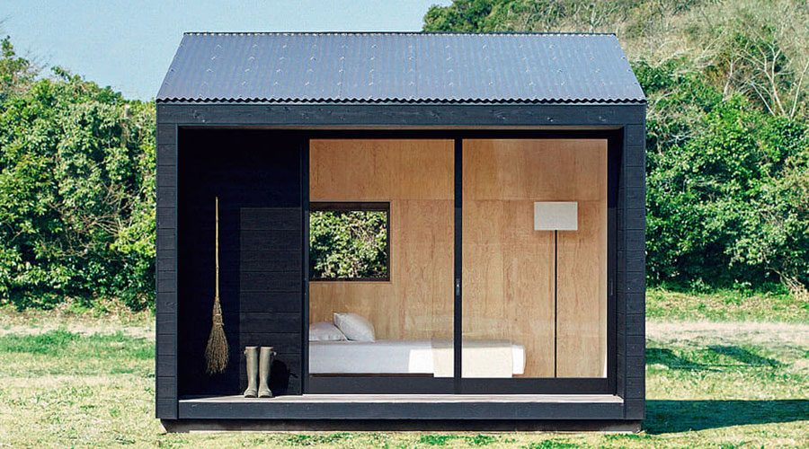 MUJI Micro Huts Modern Cabins - Cabin in landscape front view