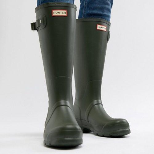 Mens Hunter Original Tall Boot Wellies in Green