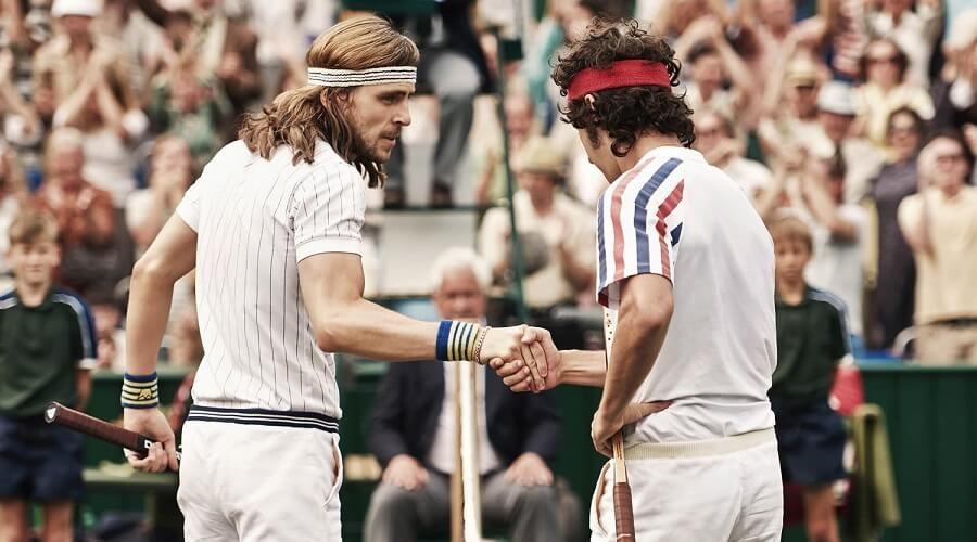Borg vs McEnroe Film - Bjorn Borg vs John McEnroe Wimbledon tennis match two players at net | SEIKK Magazine