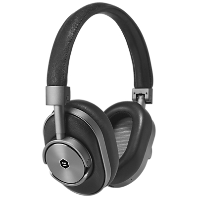 Master & Dynamic MW60 Wireless Bluetooth Headphones with Mic/Remote in black leather silver grey