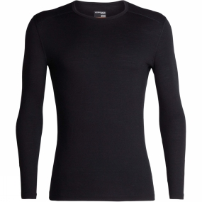 Icebreaker Mens 200 Oasis Long Sleeve Crew Top Black