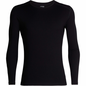 Icebreaker Mens 260 Tech Long Sleeve Crew Top Black