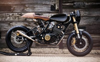 Lions Den Motorcycles Dirt Racer Custom Cafe Racer Bike UK Side View Black