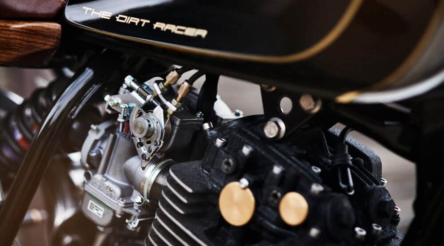 Lions Den Dirt Racer Motorcycles Custom Cafe Racer Bike UK Tank Close Up | SEIKK Magazine