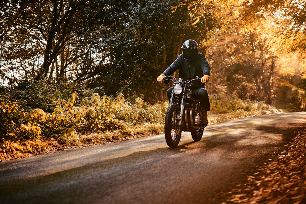 Lions Den Motorcycles UK Honda CB350 Cafe Racer Bike On A Country Drive