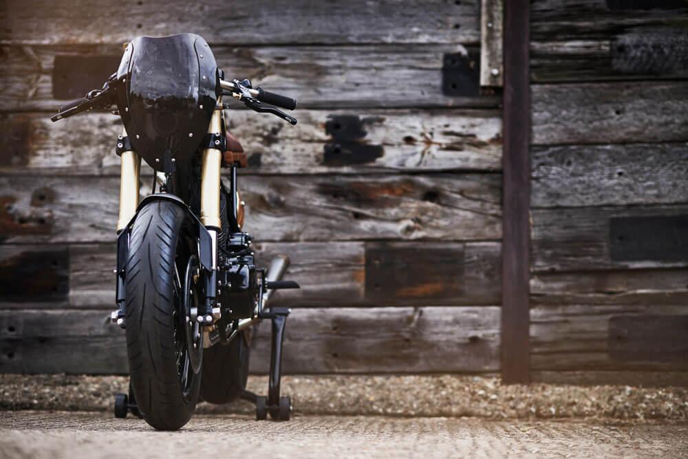 Lions Den Motorcycles UK Dirt Racer Custom Cafe Racer Bike Front View