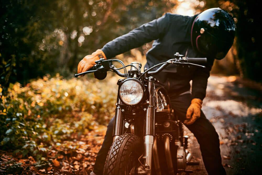 Lions Den Motorcycles Honda CB350 Cafe Racer Bike Rider Black Jacket And Helmet