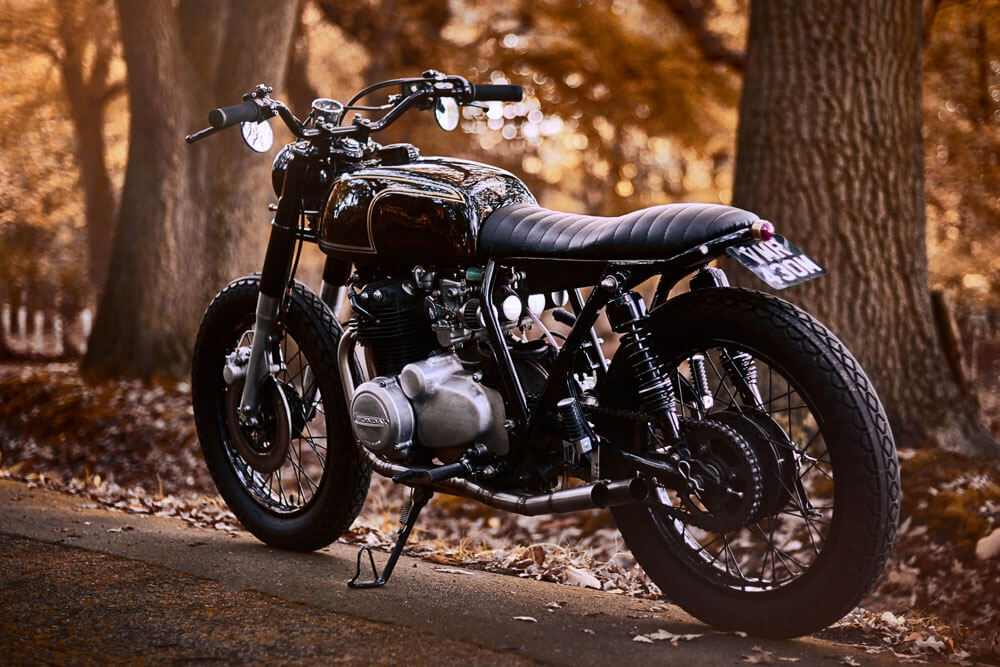 Lions Den Motorcycles UK Honda CB350 Cafe Racer Country Road Lifestyle
