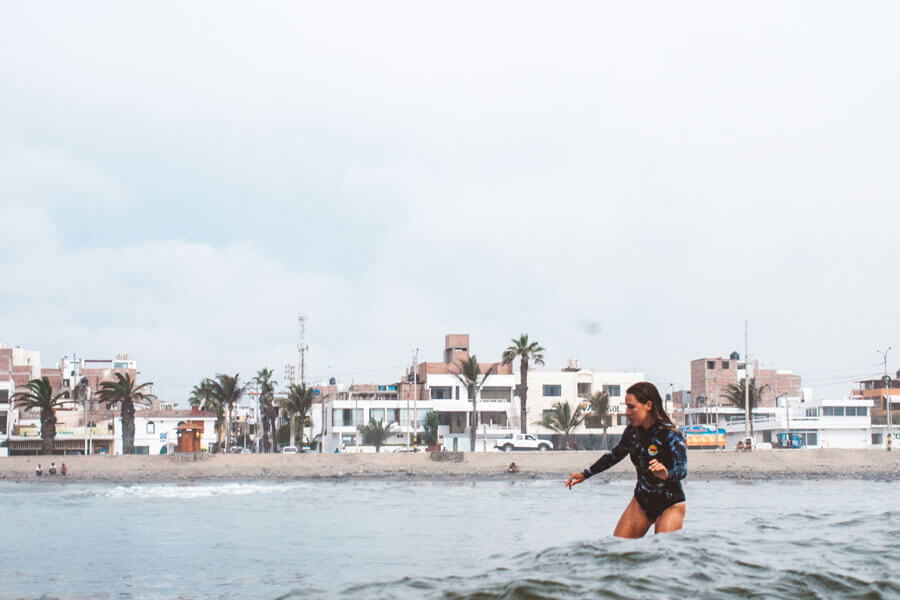 unleash surf peru surfer girl by cathb - Hunchaco beach morning surf