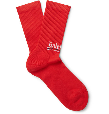 Balenciaga - Intarsia Stretch Cotton-blend Socks - Red