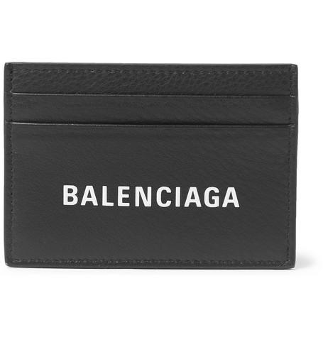 Balenciaga - Logo-print Full-grain Leather Cardholder - Black