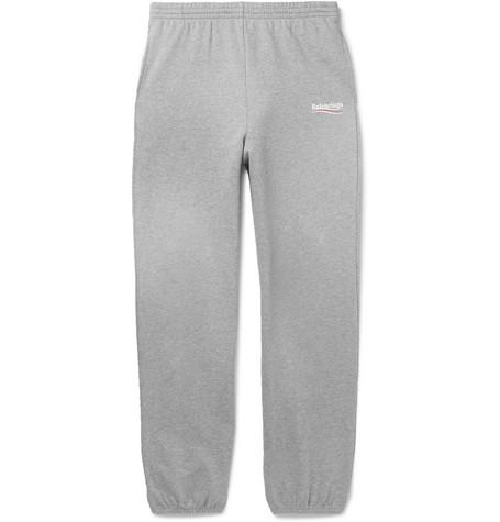 Balenciaga - Logo-print Mélange Loopback Cotton-jersey Sweatpants - Gray