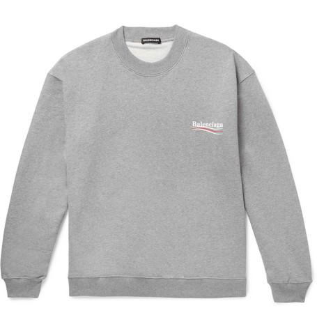 Balenciaga - Oversized Logo-print Mélange Loopback Cotton-jersey Sweatshirt - Gray