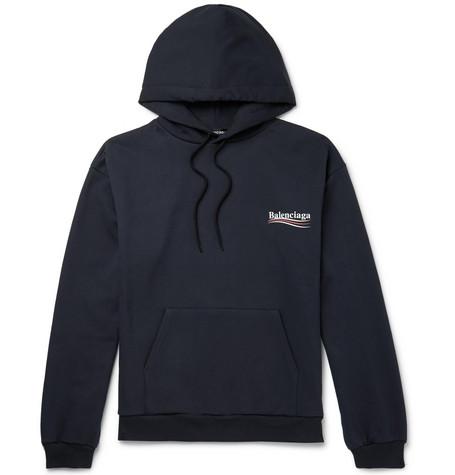 Balenciaga - Printed Loopback Cotton-jersey Hoodie - Navy