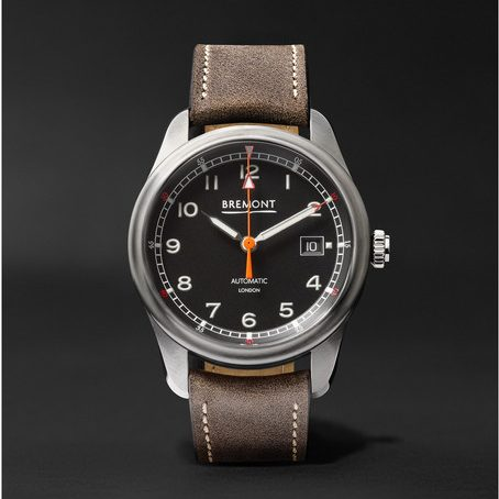 Mens Bremont Airco Mach 1 Automatic Chronometer 40mm Stainless Steel And Leather Watch in Black