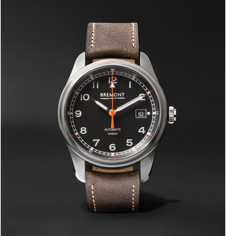Bremont - Airco Mach 1 Automatic Chronometer 40mm Stainless Steel And Leather Watch - Black