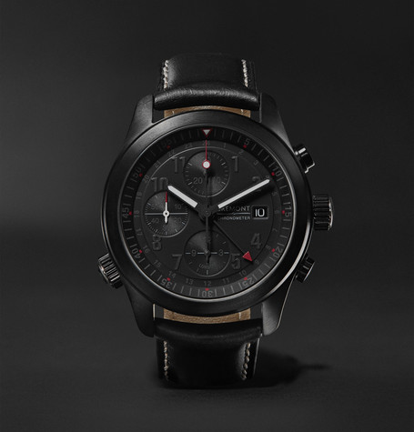 Bremont - Alt1-b Automatic Chronograph 43mm Stainless Steel And Leather Watch - Black