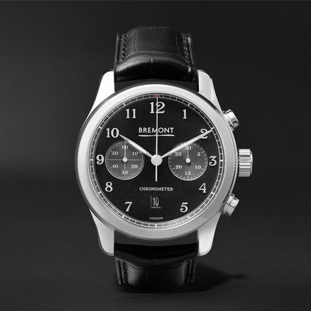 Mens Bremont Alt1-classic/pb Automatic Chronograph 43mm Stainless Steel And Alligator Watch in Black