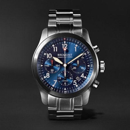 Mens Bremont Alt1-p2 Bl/br Automatic Chronograph 43mm Stainless Steel Watch in Blue